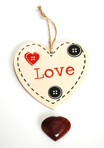 "Shabby Chic ""Love"" Wall Hanging & Red Jasper Crystal Heart Gift Set - Krystal Gifts UK"