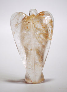 "Large Clear Quartz Hand Carved Crystal Angel 7cm (3"") approx - Krystal Gifts UK"