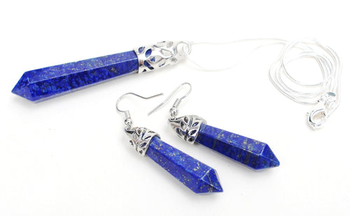 Reiki Energy Charged Polished Lapis Lazuli Crystal Stone Pendant & Earring Set Chakra Powerful - Krystal Gifts UK