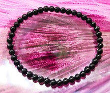 Load image into Gallery viewer, New! Natural Polished Black Obsidian Crystal Stone Beads Elasticated Bracelet Inc Gift Box