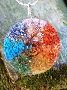 Chakra Natural Crystal Chips Orgone Sphere Pendant Inc Silver Necklace Gift Wrapped
