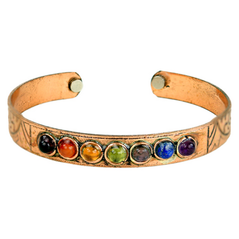 Copper & Crystal Stones Chakra Bracelet Gift - Krystal Gifts UK