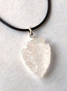 Natural Hand Crafted Clear Quartz Crystal Arrowhead Pendant And Cord Gift Wrapped