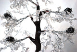 Clear Quartz & Black Tourmaline Crystal Chip Wire Wrapped Gemstone Tree - Krystal Gifts UK