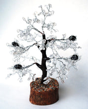 Load image into Gallery viewer, Clear Quartz & Black Tourmaline Crystal Chip Wire Wrapped Gemstone Tree - Krystal Gifts UK