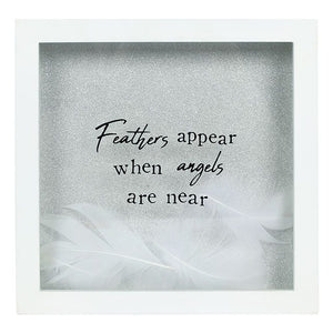 """Feathers Appear When Angels Are Near Glitter White Box Frame Gift"