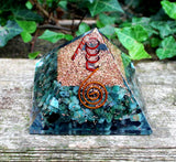 Emerald & Clear Quartz Large Orgone Pyramid