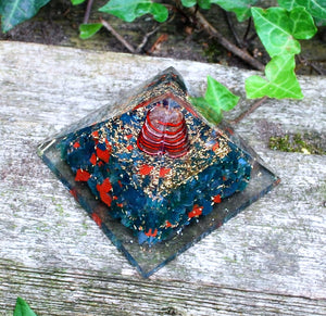 Natural Large Bloodstone Crystal Stones Orgone Pyramid