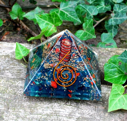 Bloodstone Large Crystal Chips Orgone Pyramid