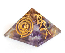 Load image into Gallery viewer, Amethyst Crystal Orgone Engraved Pyramid - Krystal Gifts UK