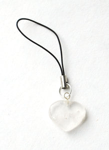 Clear Quartz Crystal Heart Mobile / Key / Bag Charm - Krystal Gifts UK