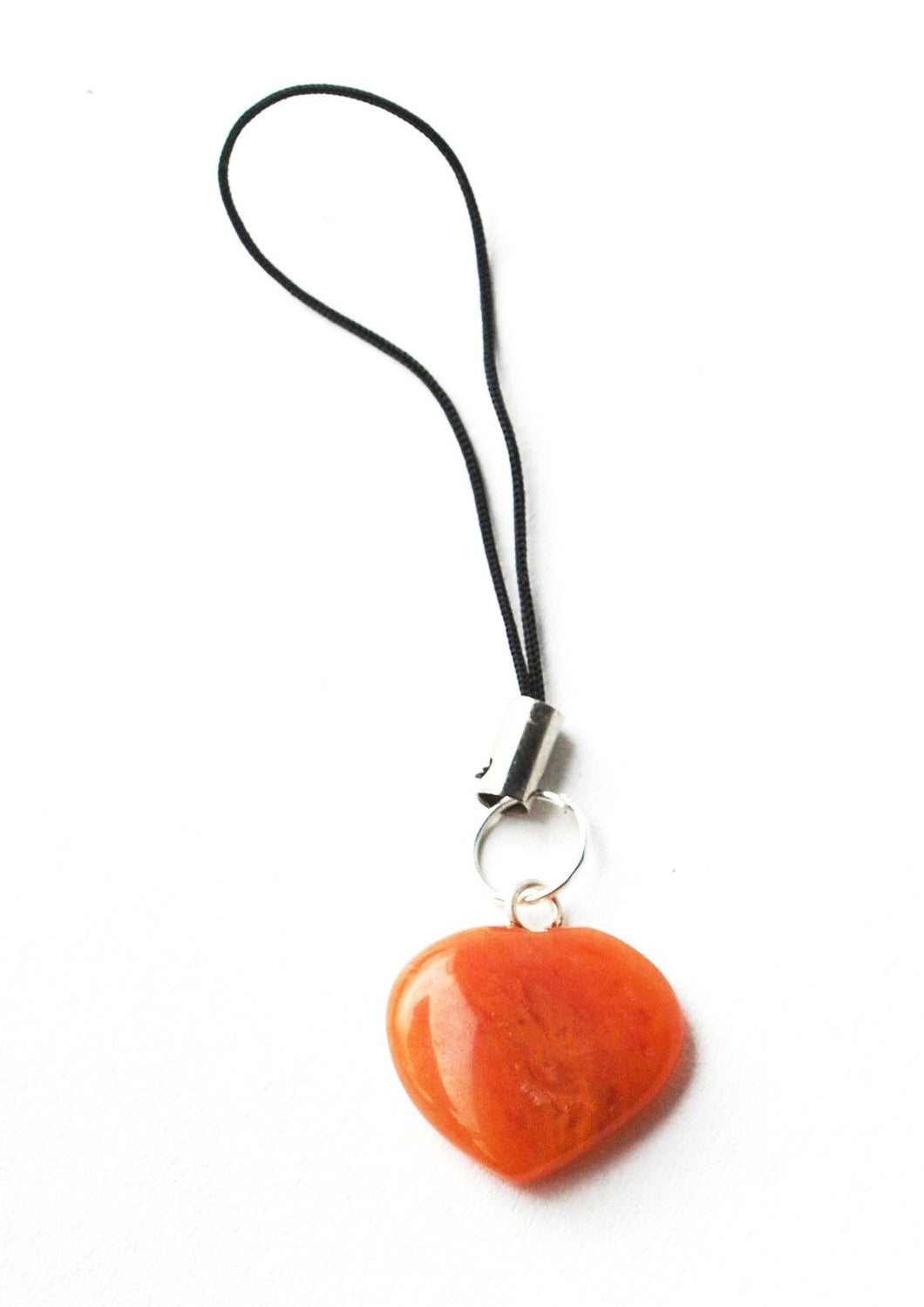 Orange Jade Crystal Heart Mobile / Key / Bag Charm - Krystal Gifts UK