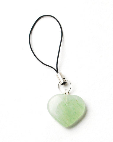 Green Aventurine Crystal Heart Mobile / Key / Bag Charm - Krystal Gifts UK