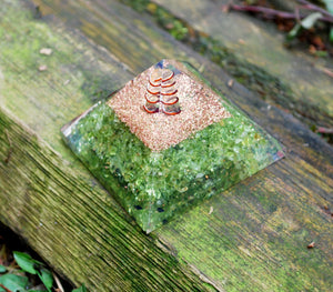 """New"" Peridot Large Crystal Orgone Pyramid"