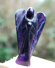 "Load image into Gallery viewer, New! Purple Banded Fluorite Crystal Stone Carved Angel 3"" Only One Available!"