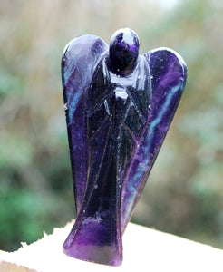 "New! Purple Banded Fluorite Crystal Stone Carved Angel 3"" Only One Available!"