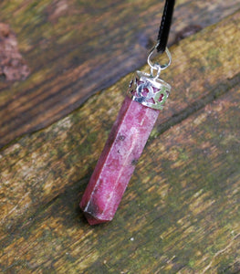 Rhodonite Crystal Point Faceted Pendant & Cord
