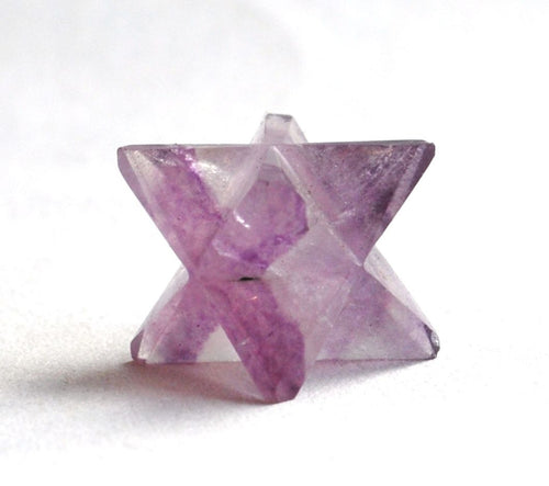 Purple Banded Fluorite Crystal Merkaba Natural Hand Cut Stone - Krystal Gifts UK