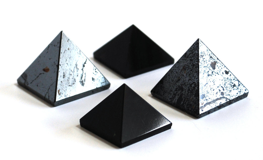 Electromagnetic Pollution Gift Set including 2 x Hematite Pyramids and 2 x Black Obsidian Pyramids - Krystal Gifts UK
