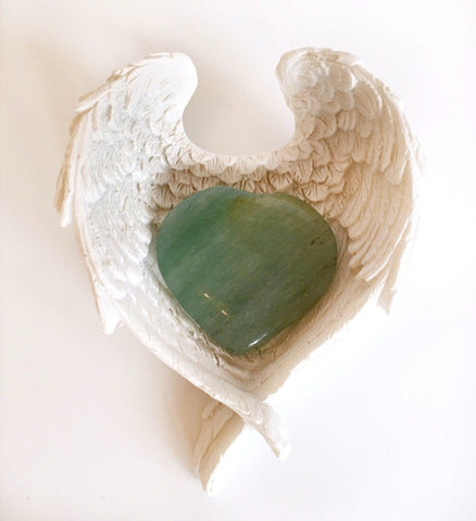 Green Aventurine Crystal Heart In Angel Wings Dish - Krystal Gifts UK