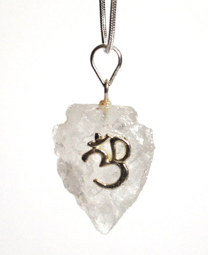 Clear Quartz 'Om' Crystal Arrowhead Pendant with Silver Chain Gift Wrapped - Krystal Gifts UK