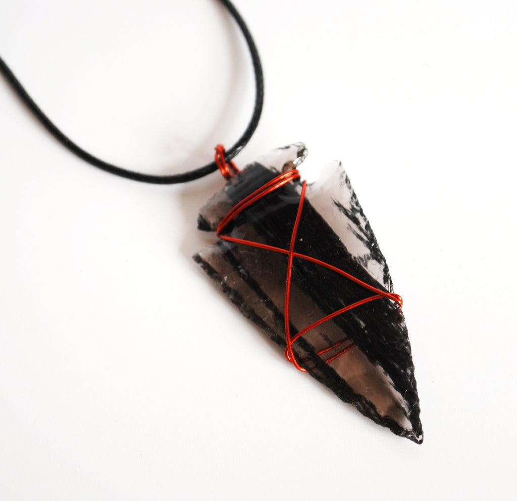 Black Obsidian Copper Wire Wrapped Crystal Arrowhead Pendant (Dragon ...