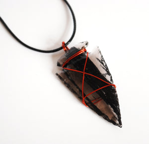 Black Obsidian Copper Wire Wrapped Crystal Arrowhead Pendant (Dragon Glass) - Krystal Gifts UK