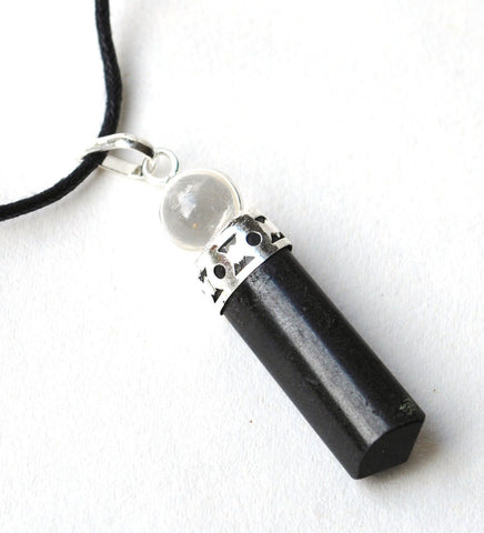 Black Tourmaline Pendant with Clear Quartz Sphere - Krystal Gifts UK
