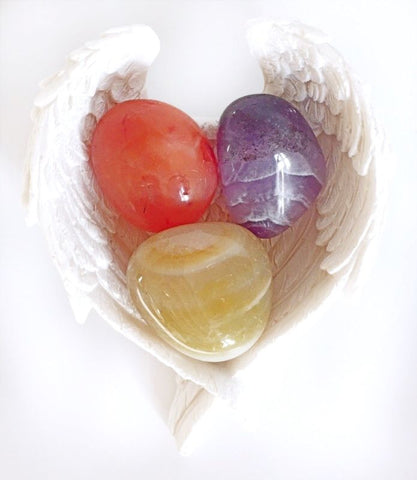"""Lifting Depression"" Crystal Stone Gift Set With Angel Wings Dish Reiki Charged - Krystal Gifts UK"