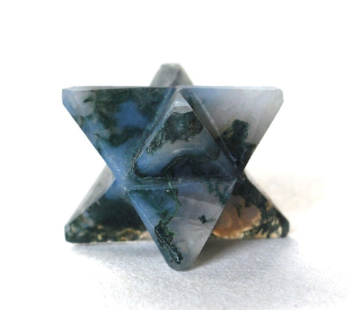Natural Moss Agate Merkaba Crystal Stone Star