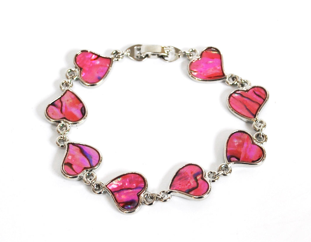 New! Pink Abalone Shell Natural Heart Crystal Bracelet