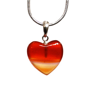 "New! Natural Carnelian Polished Crystal Heart Pendant With 925 Sterling Silver Clasp & 18"" Chain"