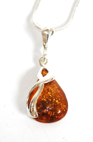 New! Natural Amber Teardrop Crystal Stone Sterling 925 Silver Pendant Necklace