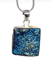 Load image into Gallery viewer, New Blue Druzy Agate Crystal Stone 925 Sterling Silver Pendant & Necklace