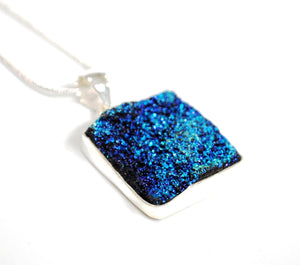 New Blue Druzy Agate Crystal Stone 925 Sterling Silver Pendant & Necklace