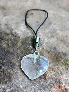 Clear Quartz Crystal Heart Mobile / Key / Bag Charm