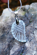 Load image into Gallery viewer, Clear Quartz Crystal Stone Angel Wing Pendant Inc Silver Plated Chain