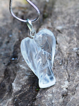 Load image into Gallery viewer, Natural Clear Quartz Angel Pendant Necklace Inc Silver Snake Chain