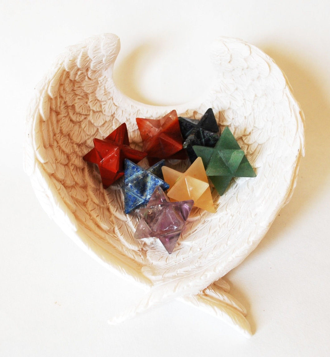 Merkaba Crystal Hand Cut Stones Chakra Set In Angel Wings Ceramic Dish - Krystal Gifts UK
