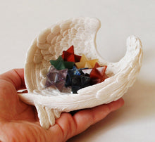 Load image into Gallery viewer, Merkaba Crystal Hand Cut Stones Chakra Set In Angel Wings Ceramic Dish - Krystal Gifts UK