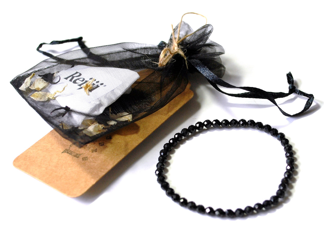New! Black Tourmaline Natural Polished Faceted Bracelet