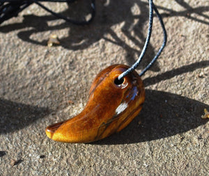 Tigers Eye Natural Crystal Stone Curved Pendant Necklace