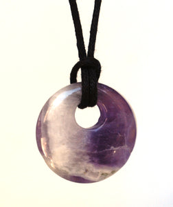Amethyst Natural Ring Donut Pendant Necklace