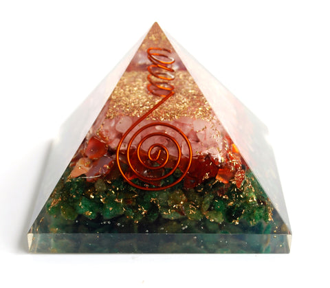 Rose Quartz, Carnelian & Green Jade Large Orgone Pyramid Serenity & Calm