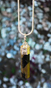 Pyrite Natural Hand Crafted Polished Crystal Faceted Stone Pendant Necklace