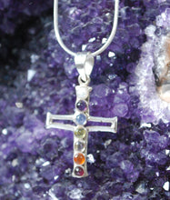 Load image into Gallery viewer, Natural Chakra Crystal 925 Silver Cross Pendant Inc Chain