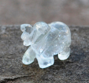 Natural Clear Quartz Crystal Stone Hand Crafted Elephant Figure