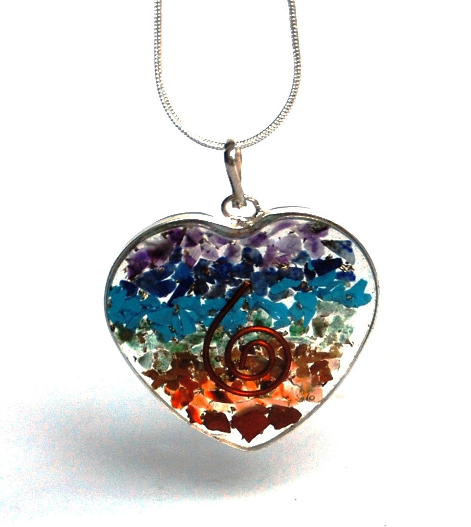 Chakra Orgone Crystal Chips Metal Surround Heart Pendant & Silver Chain