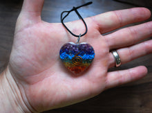 Load image into Gallery viewer, Chakra Orgone Crystal Chips Heart Pendant & Silver Chain