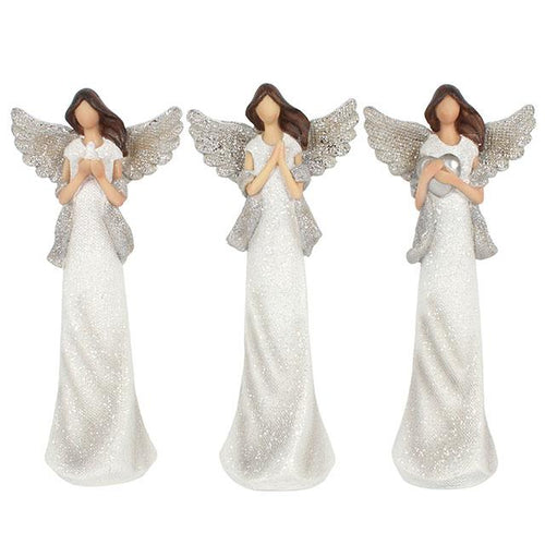 Set Of 3 White And Silver Glitter Angels